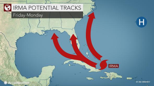 Irma possible tracks 4 am Tue static